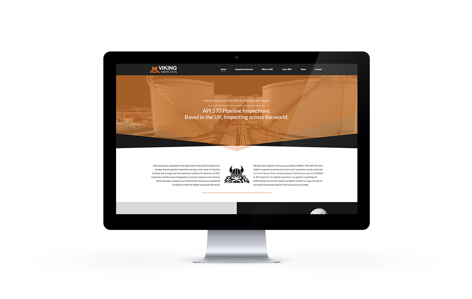 Website design example for holten-le-clay company Viking Inspection